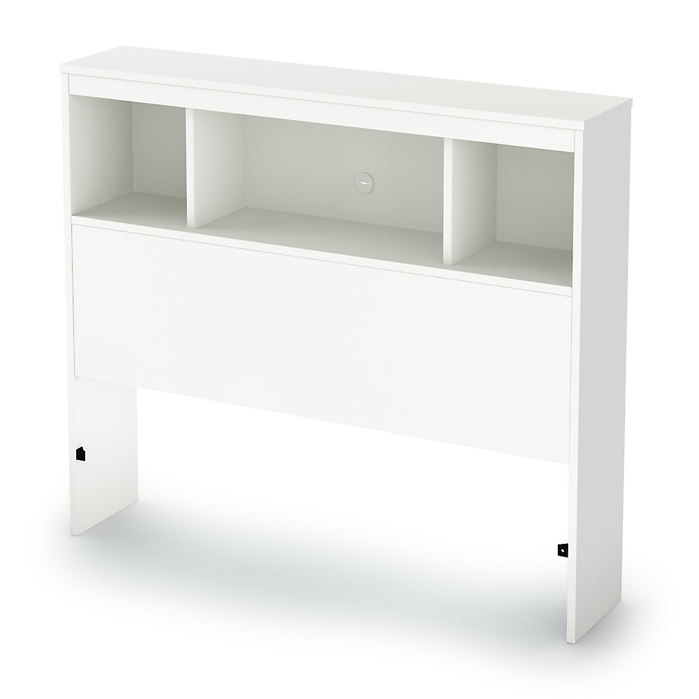 Litchi Twin Bookcase Headboard (39 Inch), Pure White