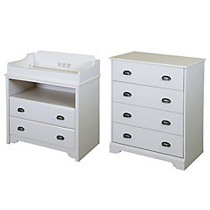 Fundy Tide Changing Table and 4-Drawer Chest, Pure White