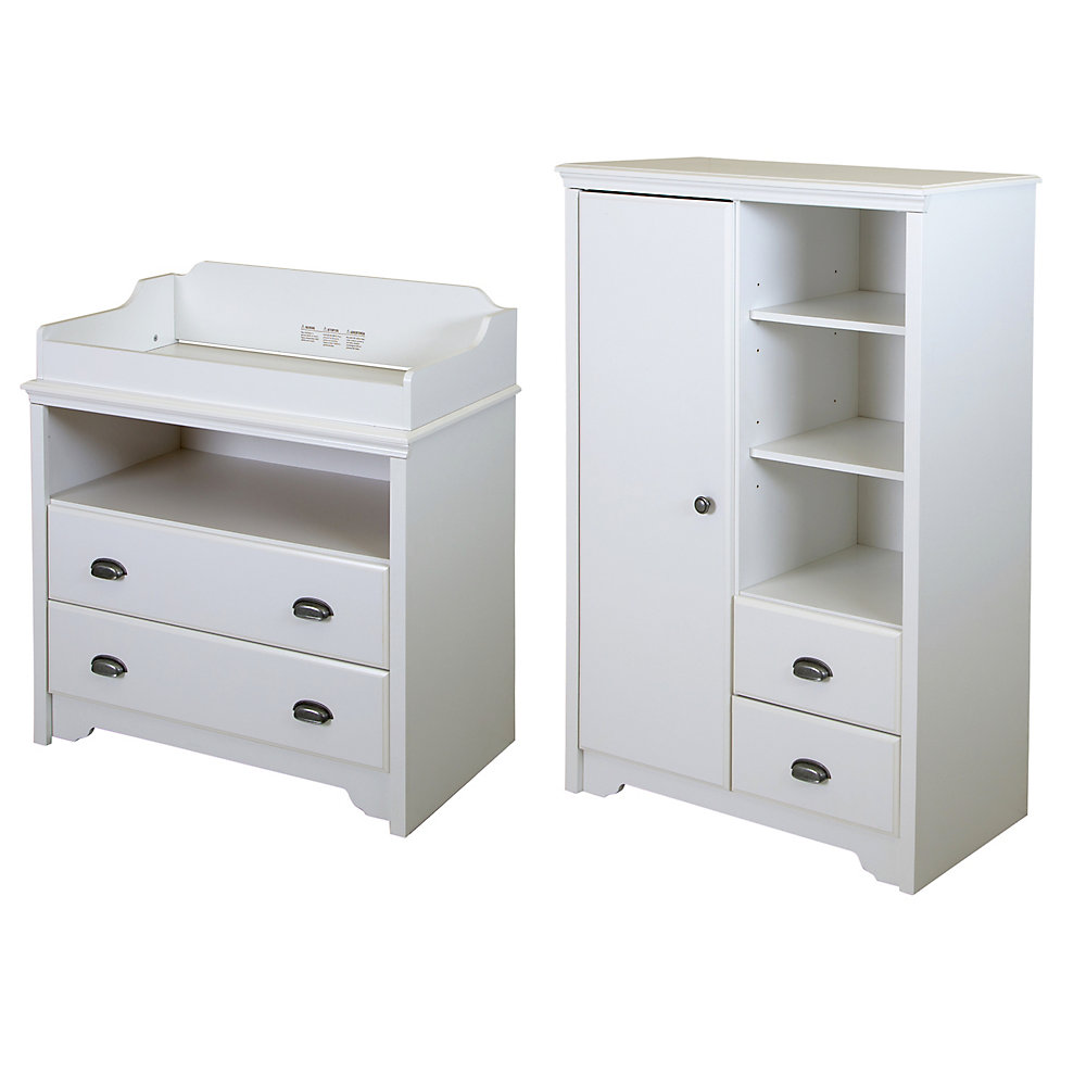 Fundy Tide Changing Table and Armoire with Drawers, Pure White