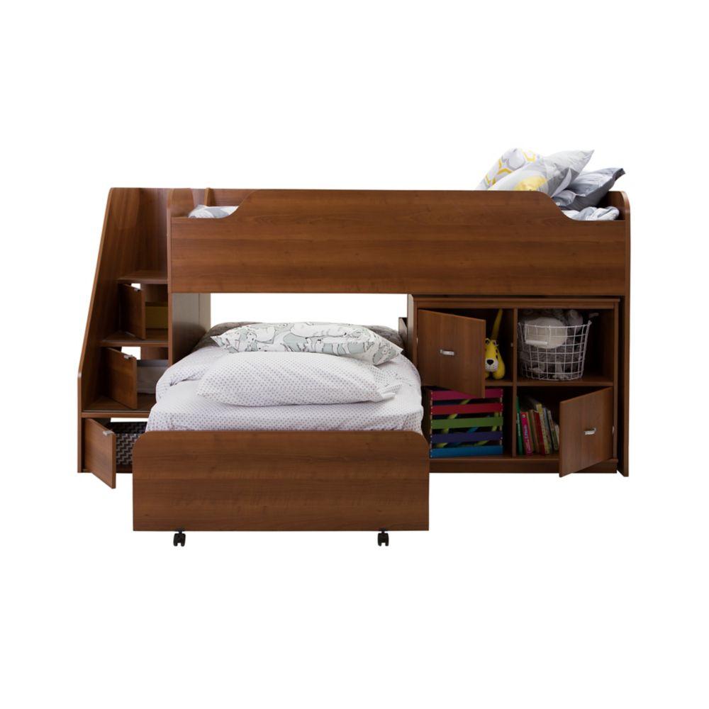 Lit mezzanine simple avec lit gigogne et unité de rangement, Cerisier Morgan, collection Mobby