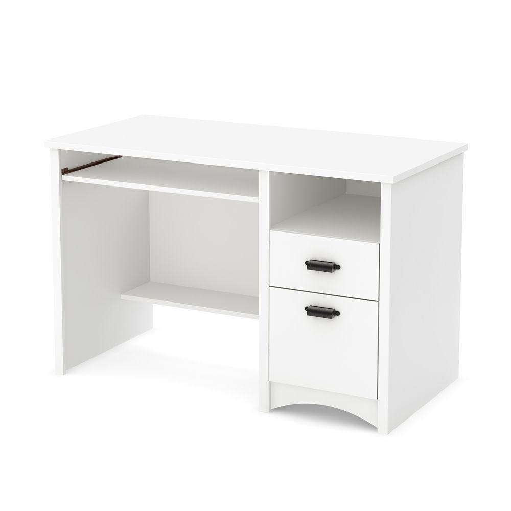 Bureau de travail 2 tiroirs, Blanc solide, collection Gascony