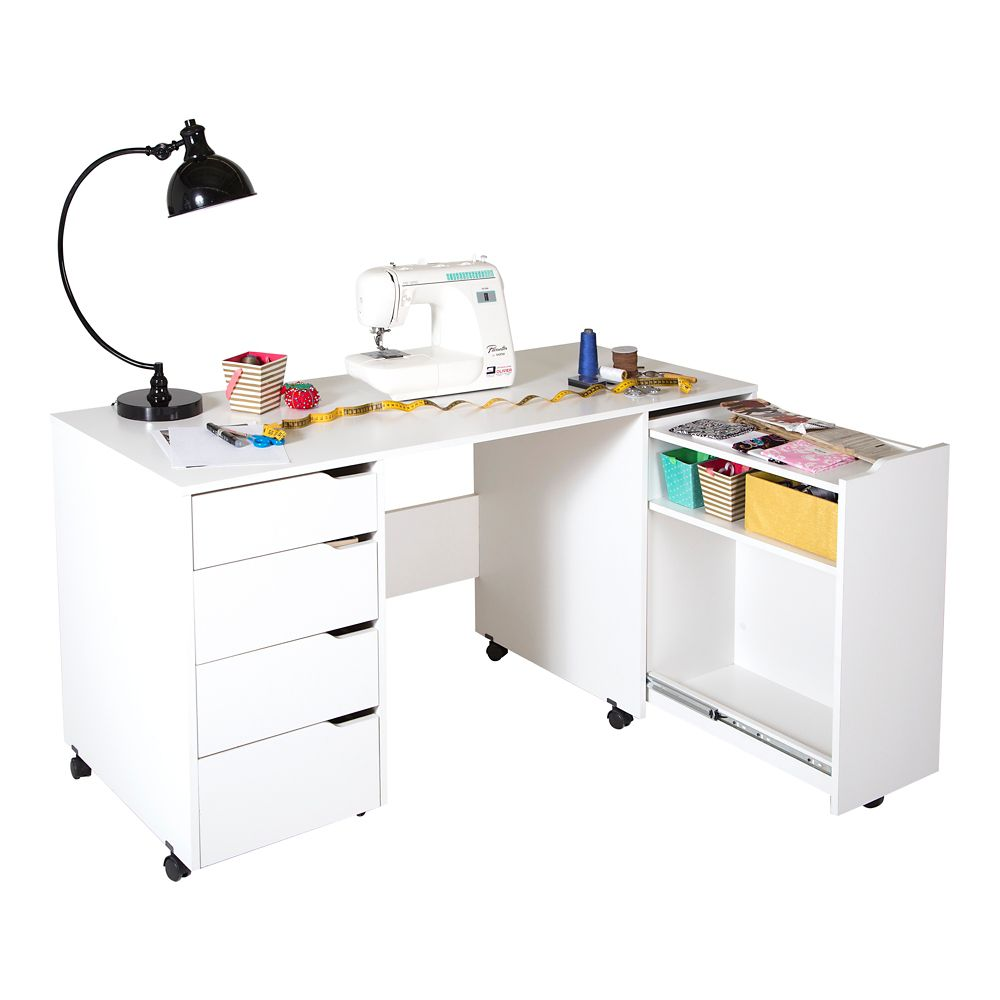 Crea Sewing Craft Table on Wheels, Pure White