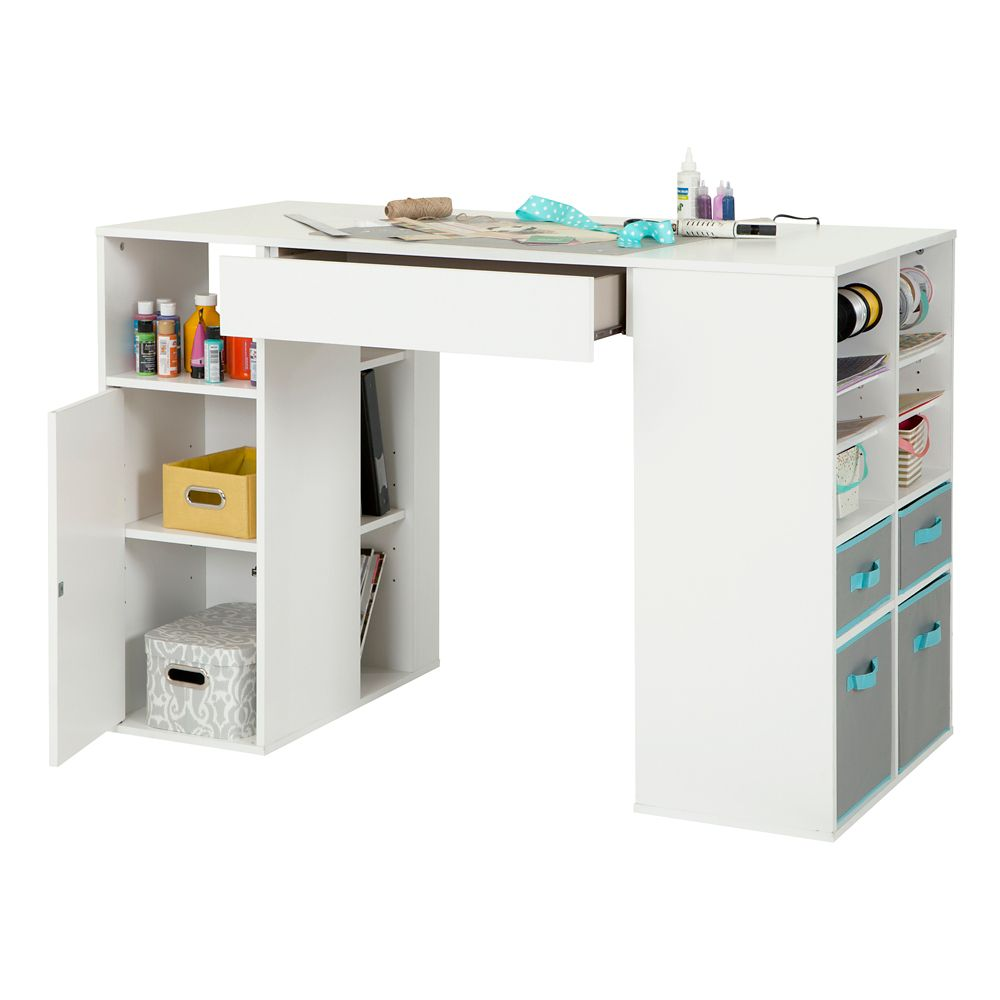 Crea Counter-Height Craft Table with Storage, Pure White