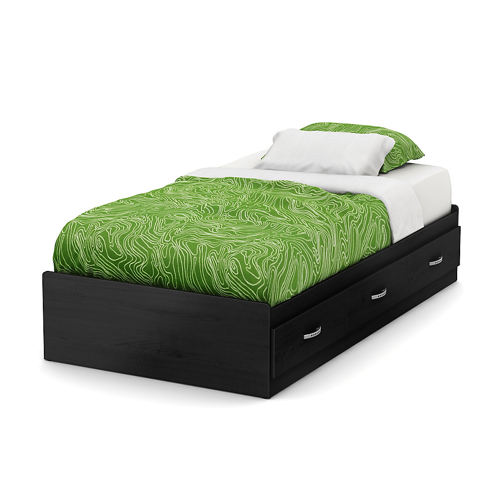 Lazer Twin Mates Bed (39 inch) with 3 Drawers, Black Onyx