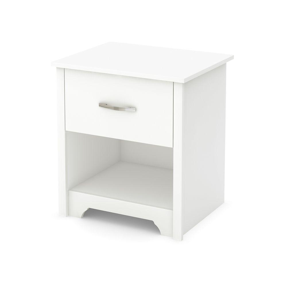 Table de chevet, Blanc solide, collection Fusion
