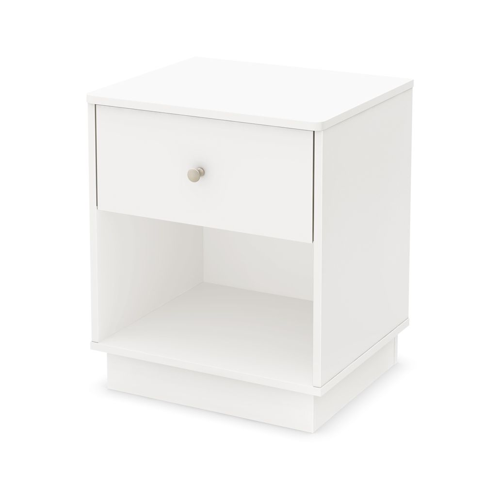Table de chevet, Blanc solide, collection Litchi