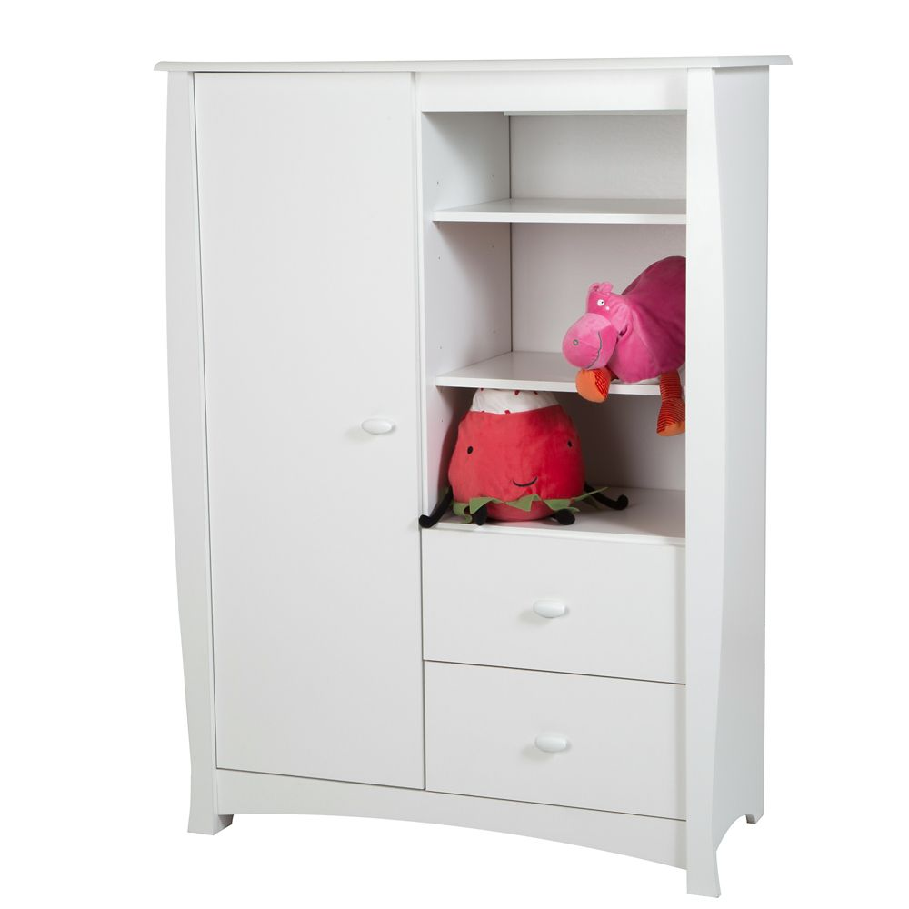 Beehive Armoire with Drawers, Pure White