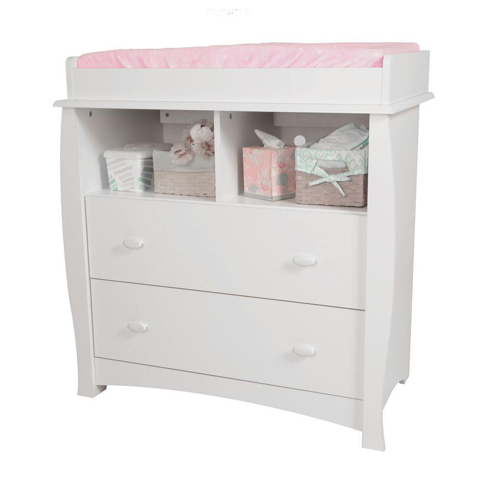 Beehive Changing Table with Removable Changing Station, Pure White