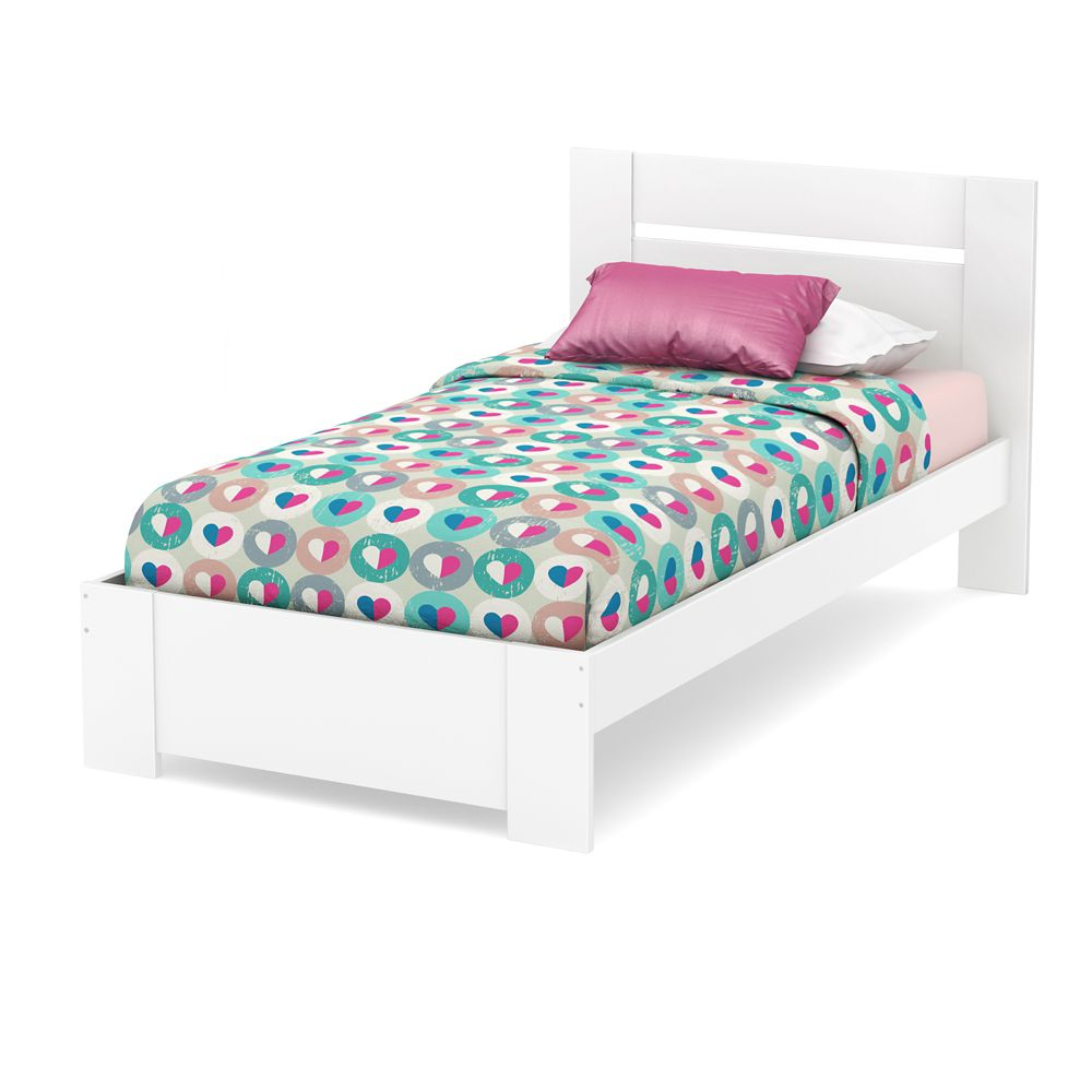 Reevo Twin Bed Set (39 Inch), Pure White