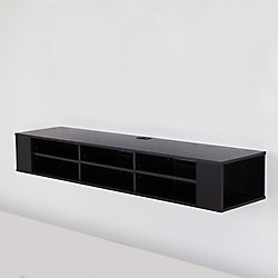 City Life 66 Inch Wide Wall Mounted Media Console, Black Oak