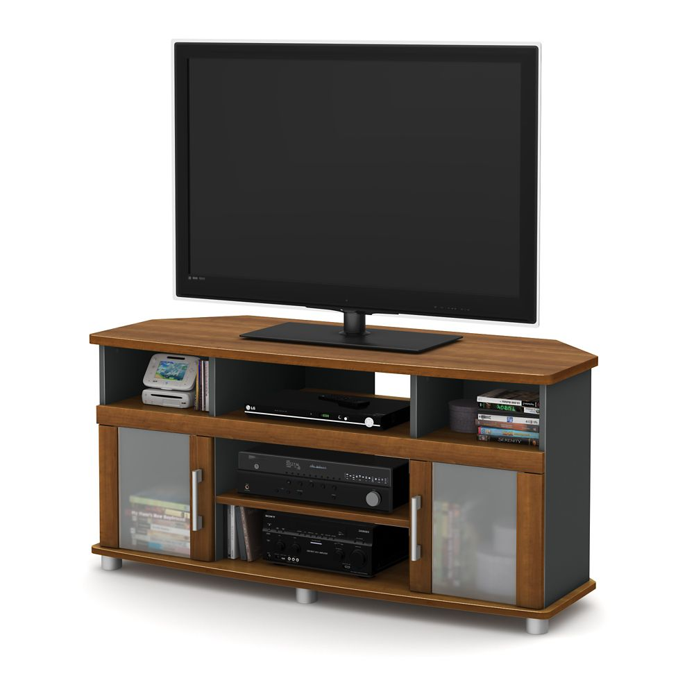 City Life Corner TV Stand, for TVs up to 50 inches, Morgan Cherry and Charcoal