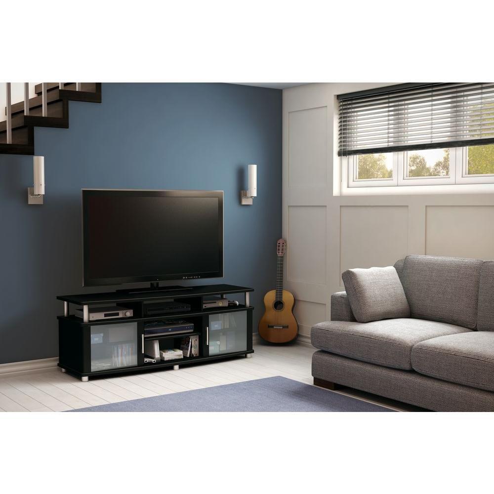 Meuble TV, Noir solide, collection City Life