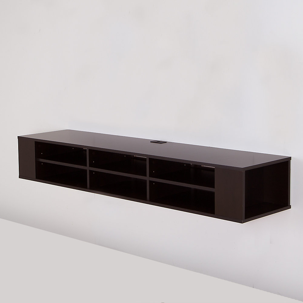City Life 66 Inch Wide Wall Mounted Media Console, Chocolate