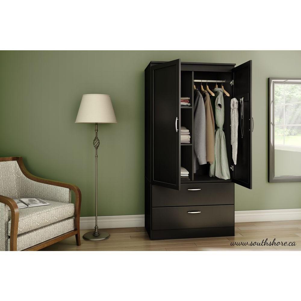 South Shore Acapella Wardrobe Armoire in Pure Black
