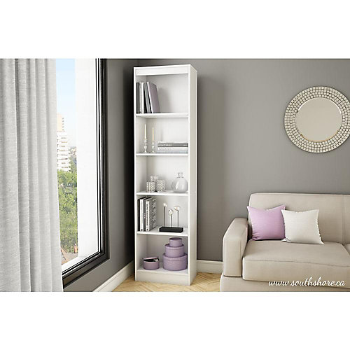 Axess 5-Shelf Narrow Bookcase, Pure White