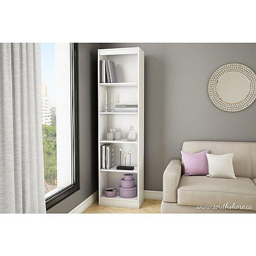 Axess 5-Shelf Narrow Bookcase, Pure White