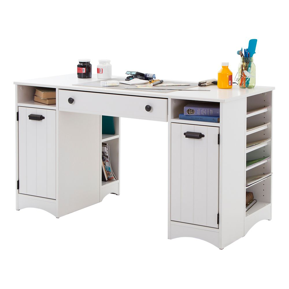 Artwork Craft Table with Storage, Pure White
