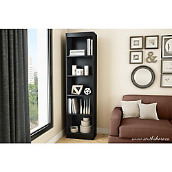 Axess 5-Shelf Narrow Bookcase, Pure Black