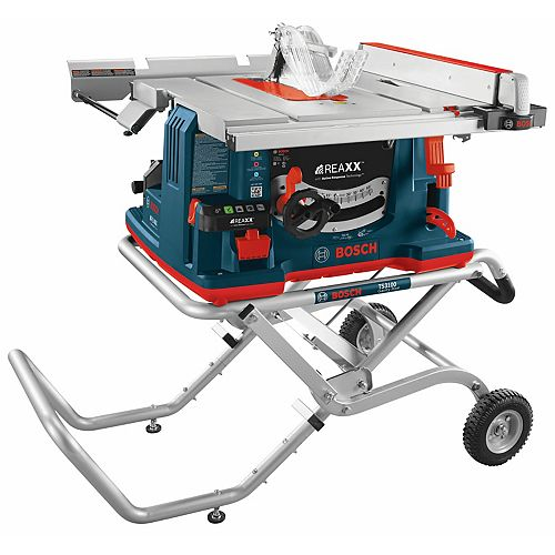 Bosch REAXX 10-inch Jobsite Table Saw with Gravity-Rise Wheeled Stand