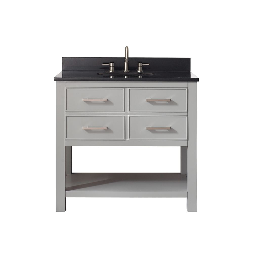 Brooks 37 Inch Vanity Combo In Chilled Gray Finish With Black Granite Top