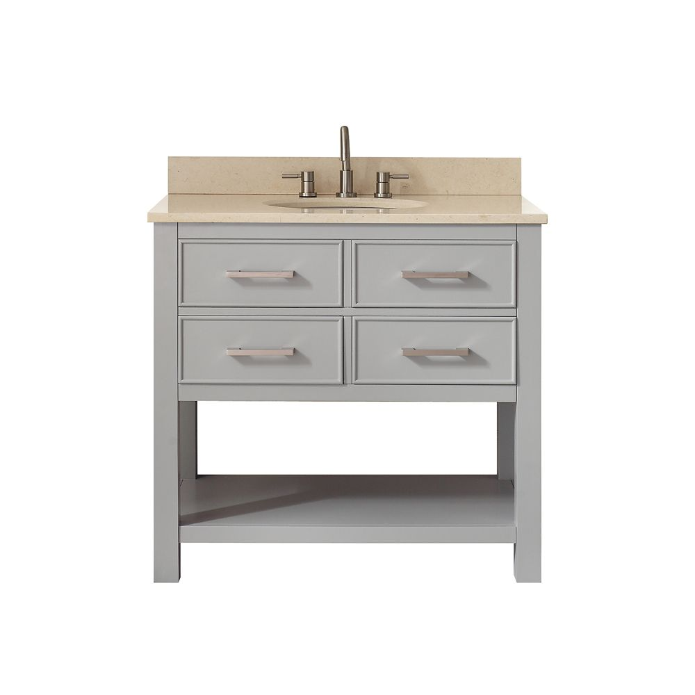 Meuble-lavabo Brooks gris froid comptoir marbre beige Galala 37 po