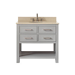 Avanity Brooks 37 Inch Vanity Combo In Chilled Gray Finish With Galala Beige Top