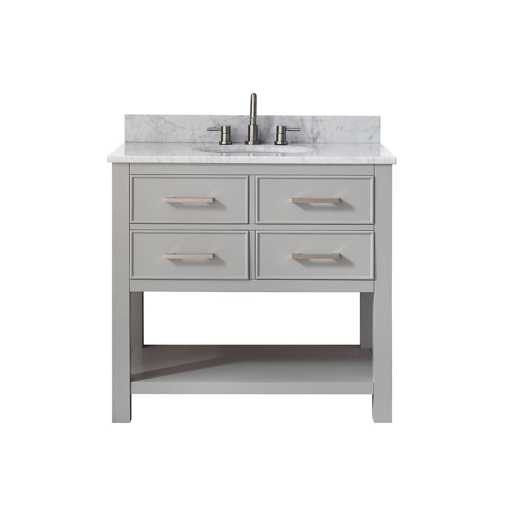 Brooks 37 Inch Vanity Combo In Chilled Gray Finish With Carrera White Top