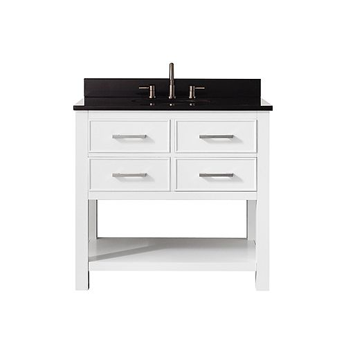 Avanity Brooks 37 Inch Vanity Combo In White Finish With Black Granite Top