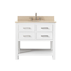 Avanity Brooks 37 Inch Vanity Combo In White Finish With Galala Beige Top