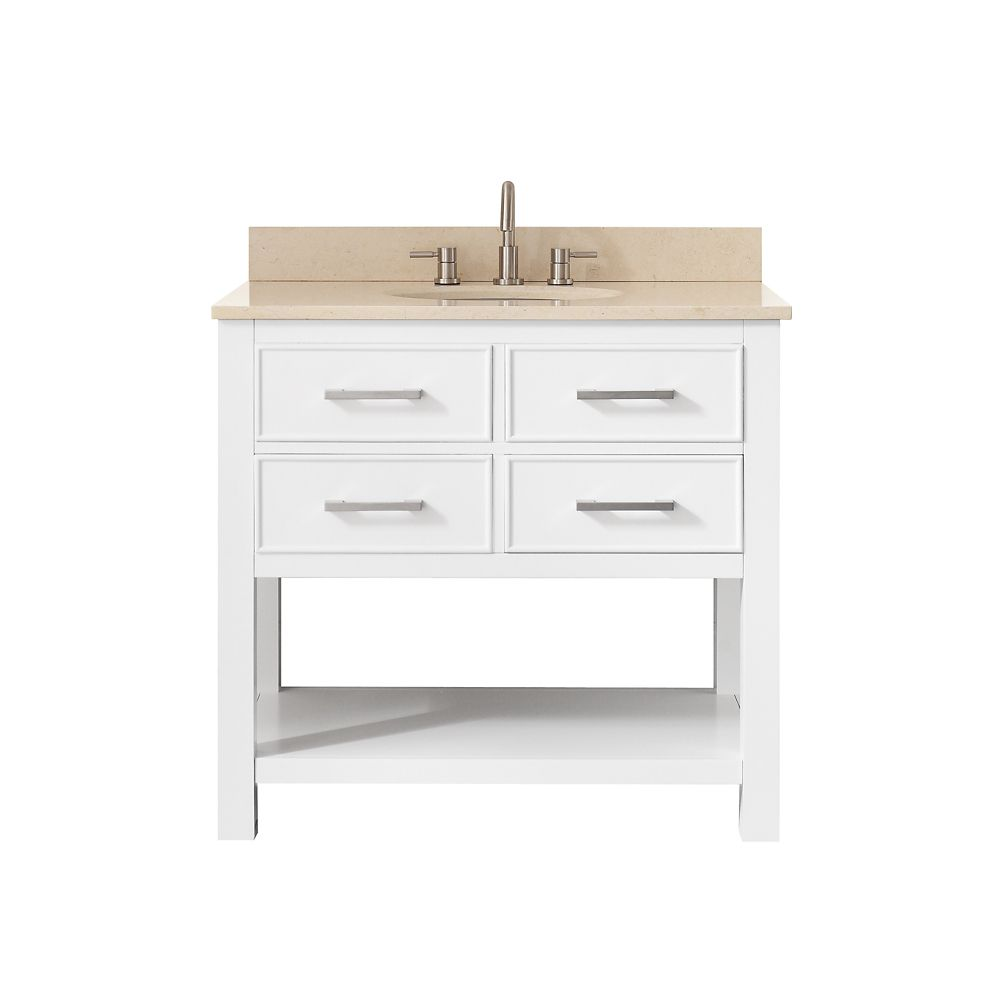 Brooks 37 Inch Vanity Combo In White Finish With Galala Beige Top