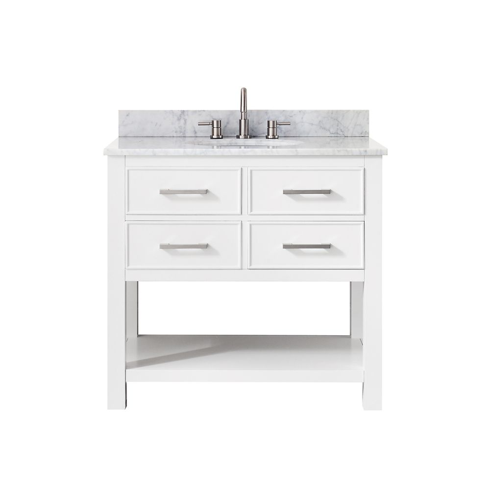 Brooks 37 Inch Vanity Combo In White Finish With Carrera White Top
