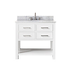 Avanity Brooks 37 Inch Vanity Combo In White Finish With Carrera White Top