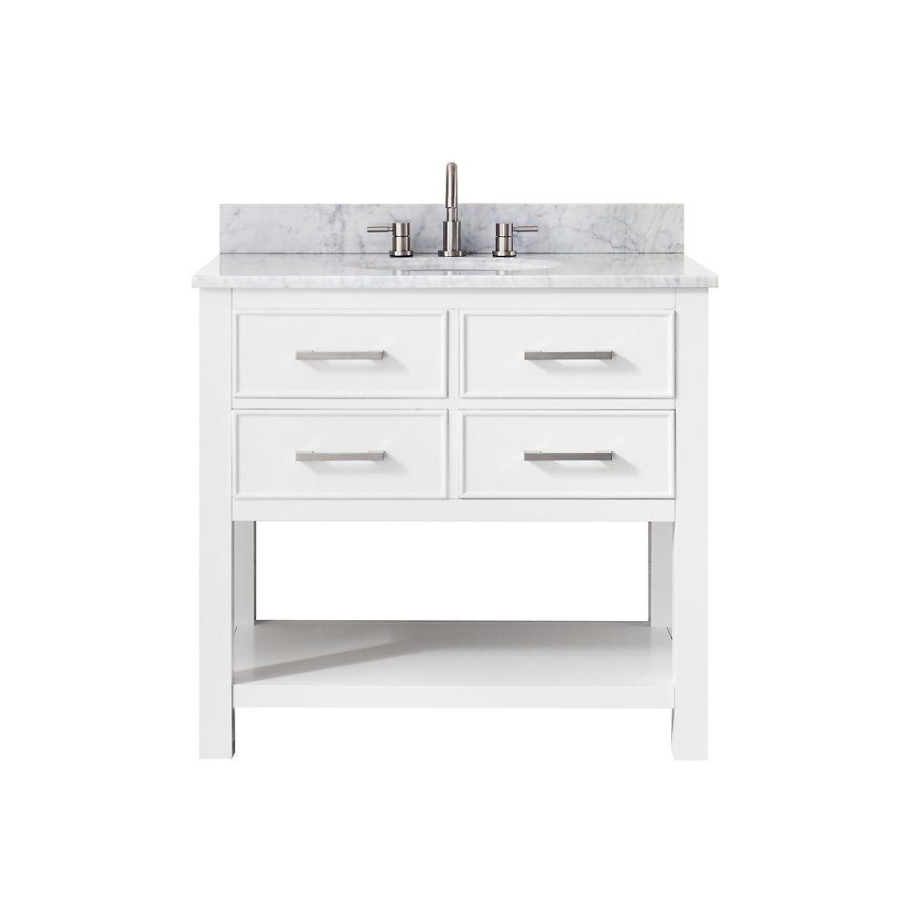 Meuble-lavabo Avanity Brooks au fini blanc avec comptoir en marbre de Carrare blanc de 37po