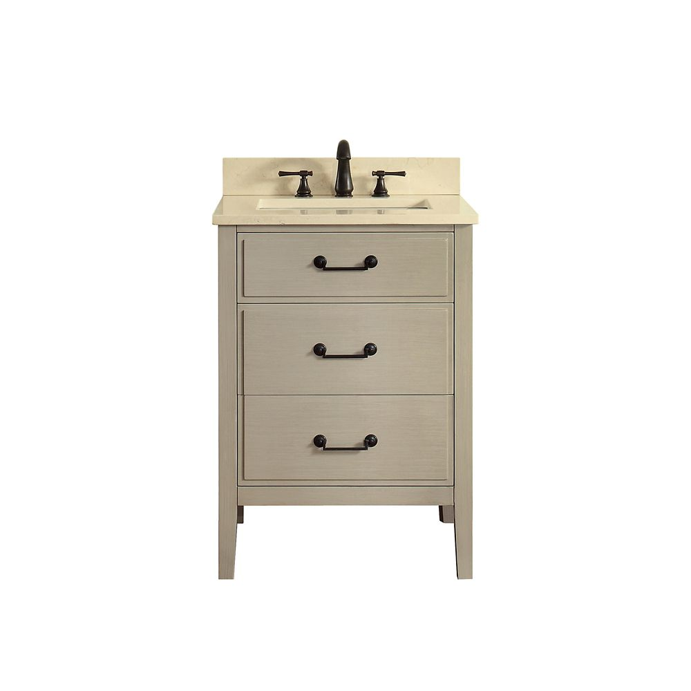 Delano 25 Inch Vanity Combo In Taupe Glaze Finish With Galala Beige Top