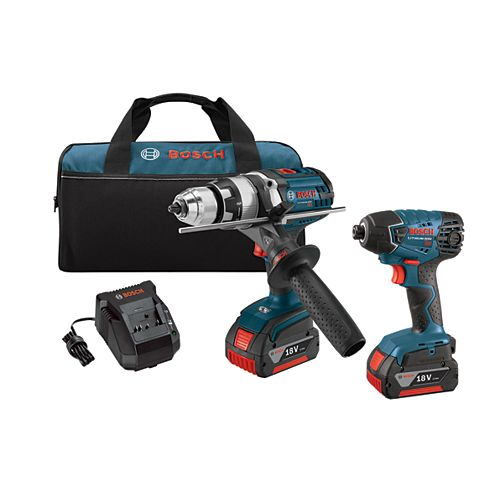 18 V Lithium-Ion 2-Tool Combo Kit with 1/2 Inch Hammer Drill/Driver and 1/4 Inch Hex Impact Driver