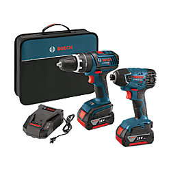 Bosch 18 V 2-Tool Compact Tough Hammer Drill Driver and Hex Impact Driver Combo Kit