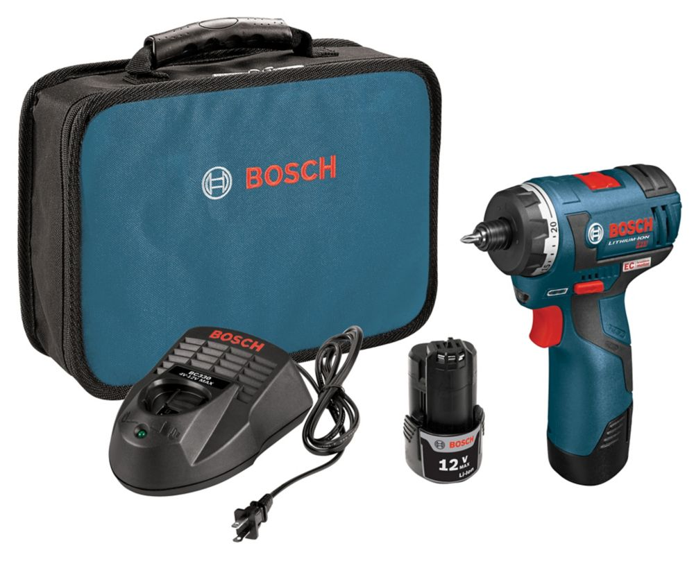 Bosch 12V Lithium Ion Battery Cordless Max EC Brushless Two-Speed Pocket Driver with 2 Batteries