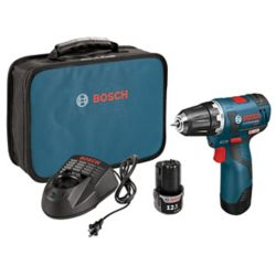 Bosch 12V Lithium Ion Cordless Max EC Brushless 3/8-inch Drill/Driver with 2 Batteries