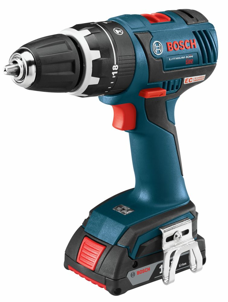 Bosch 18V Lithium Ion Cordless EC Brushless Compact Tough 1/2-inch Hammer Drill/Driver with SlimPack Batteries