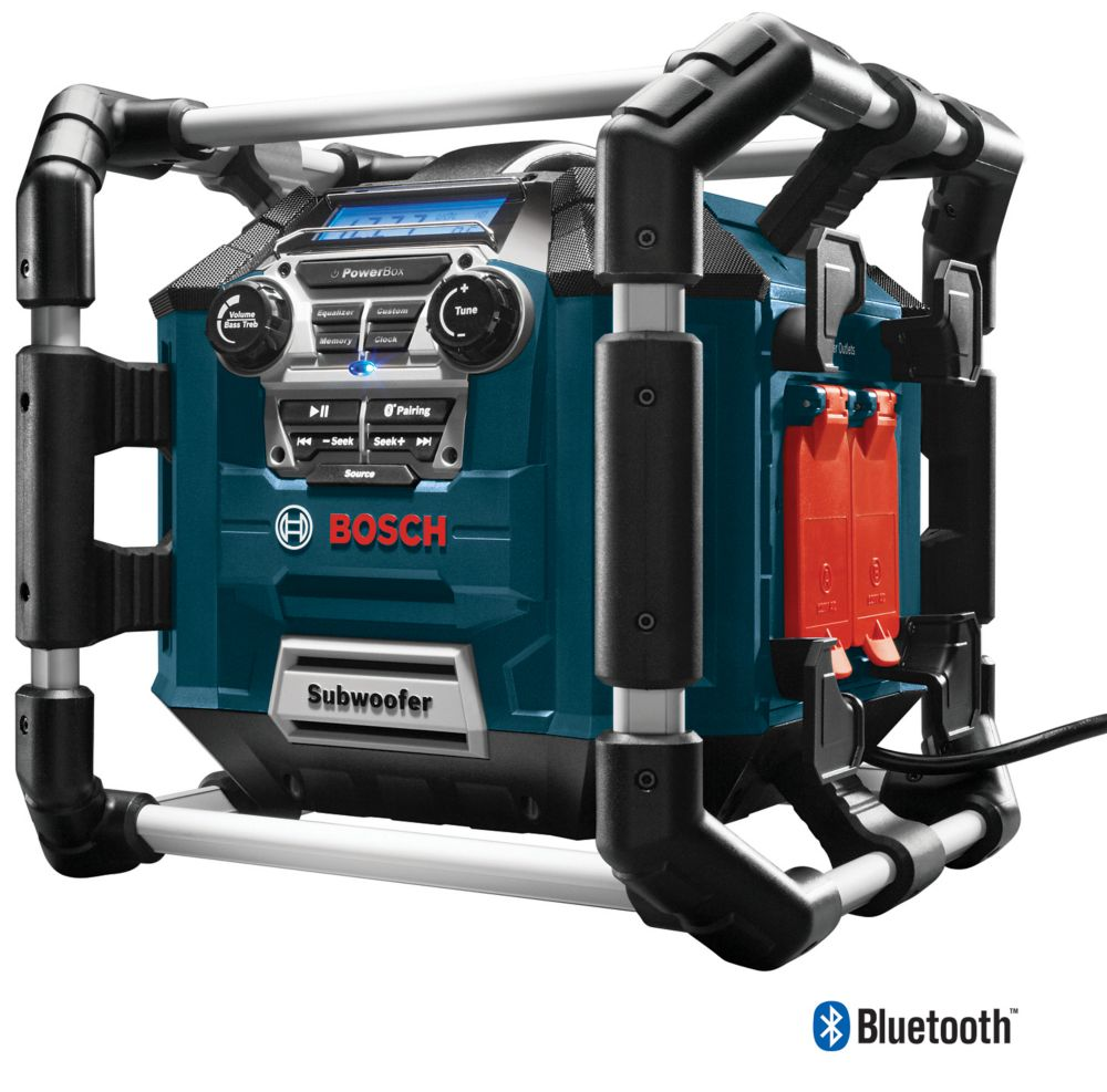 Bosch Power Boss Jobsite AM/FM Radio/Charger/Digital Media Stereo with 360 Degree Sound and Bluetooth