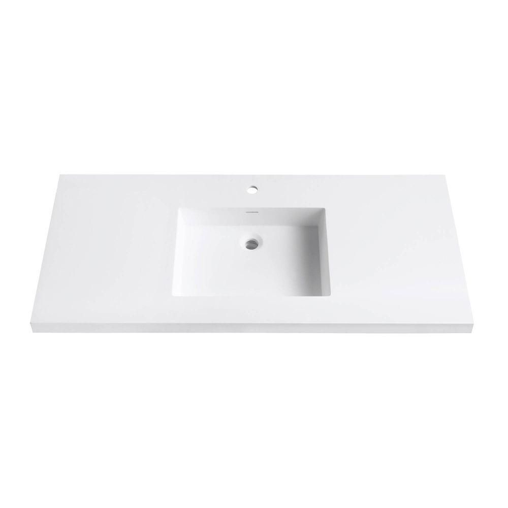 Avanity Versastone 49-Inch W Solid Vanity Top in Matte White with 22-Inch Deep Bowl