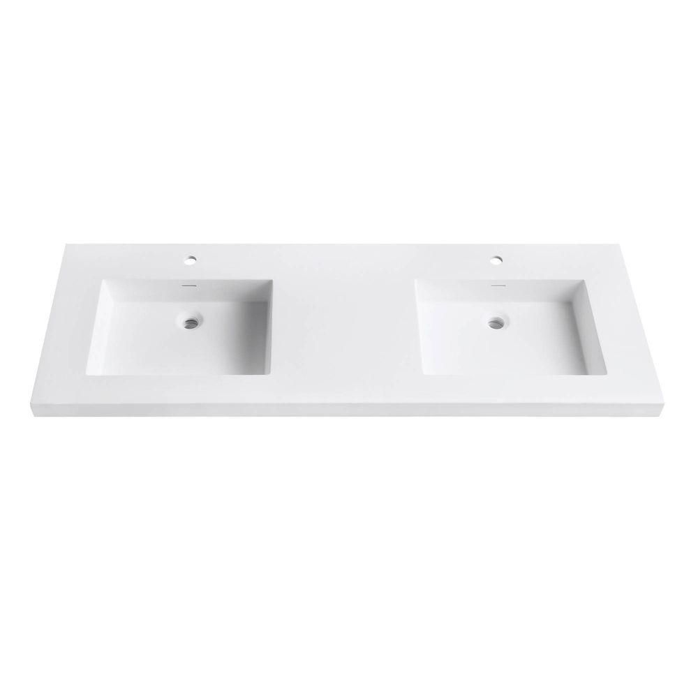 Versastone 61-Inch W Solid Vanity Top in Matte White with 22-Inch Deep Bowl