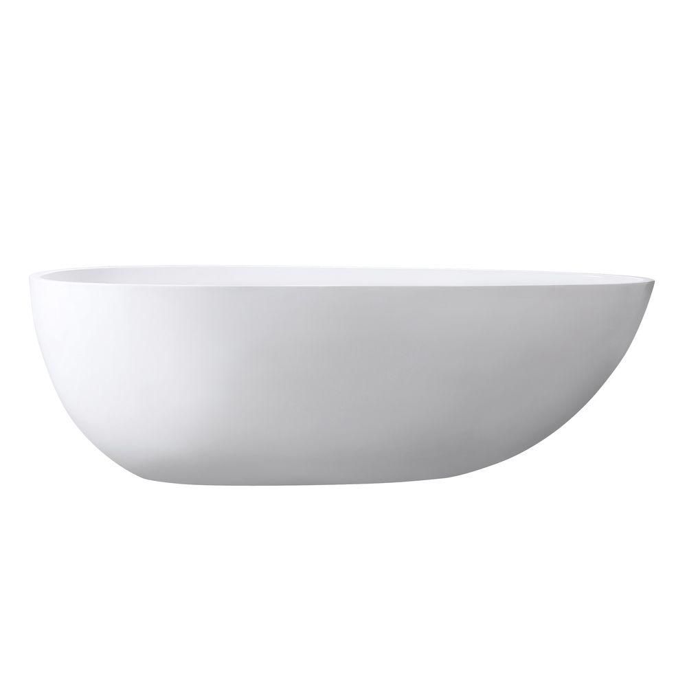 Avanity Gaia 67 Inch Free Standing Acrylic Soaking Tub With Center Drain, Pop-Up Drain Assembly, And Overflow