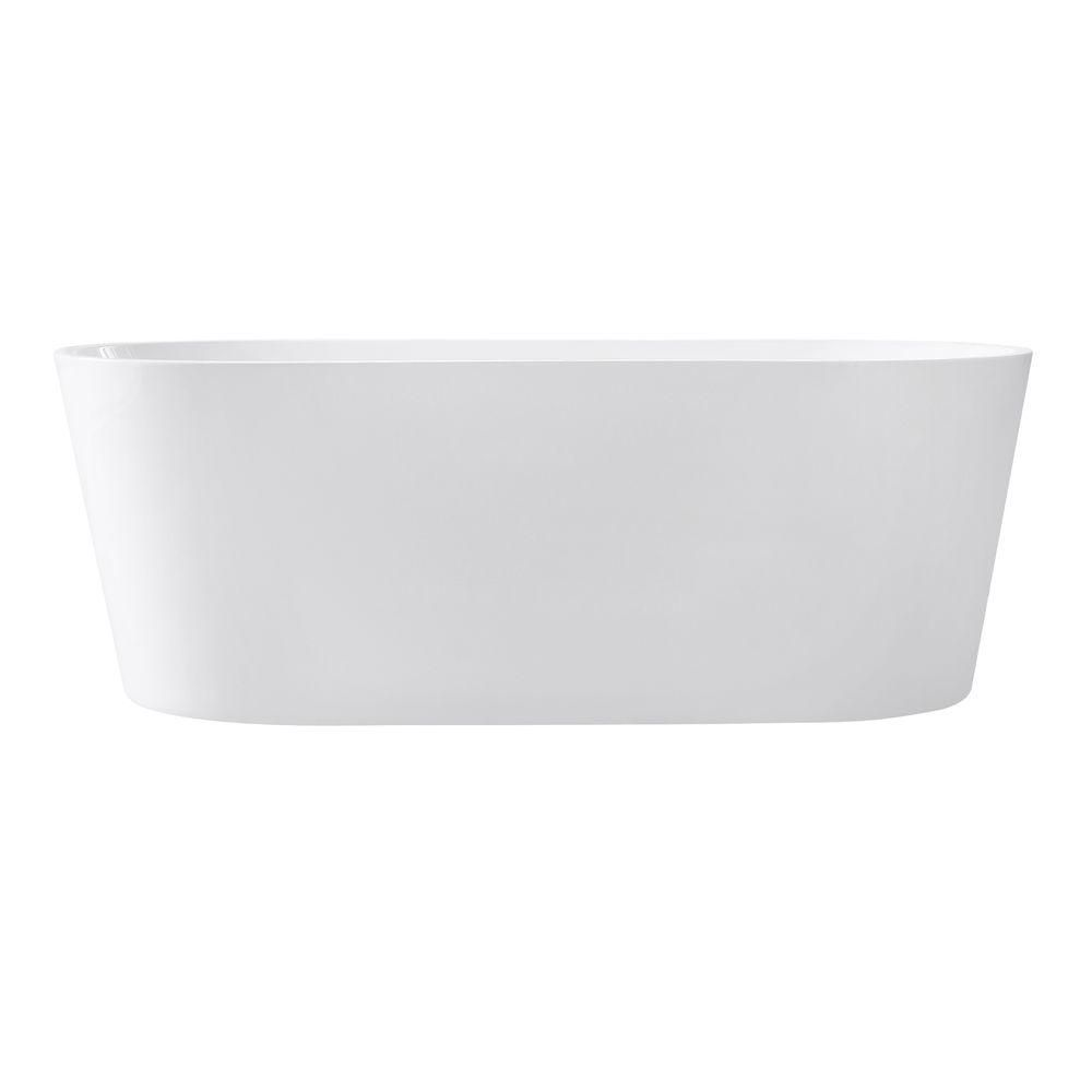 Aria 67 Inch Free Standing Acrylic Soaking Tub With Center Drain, Pop-Up Drain Assembly, And Over...