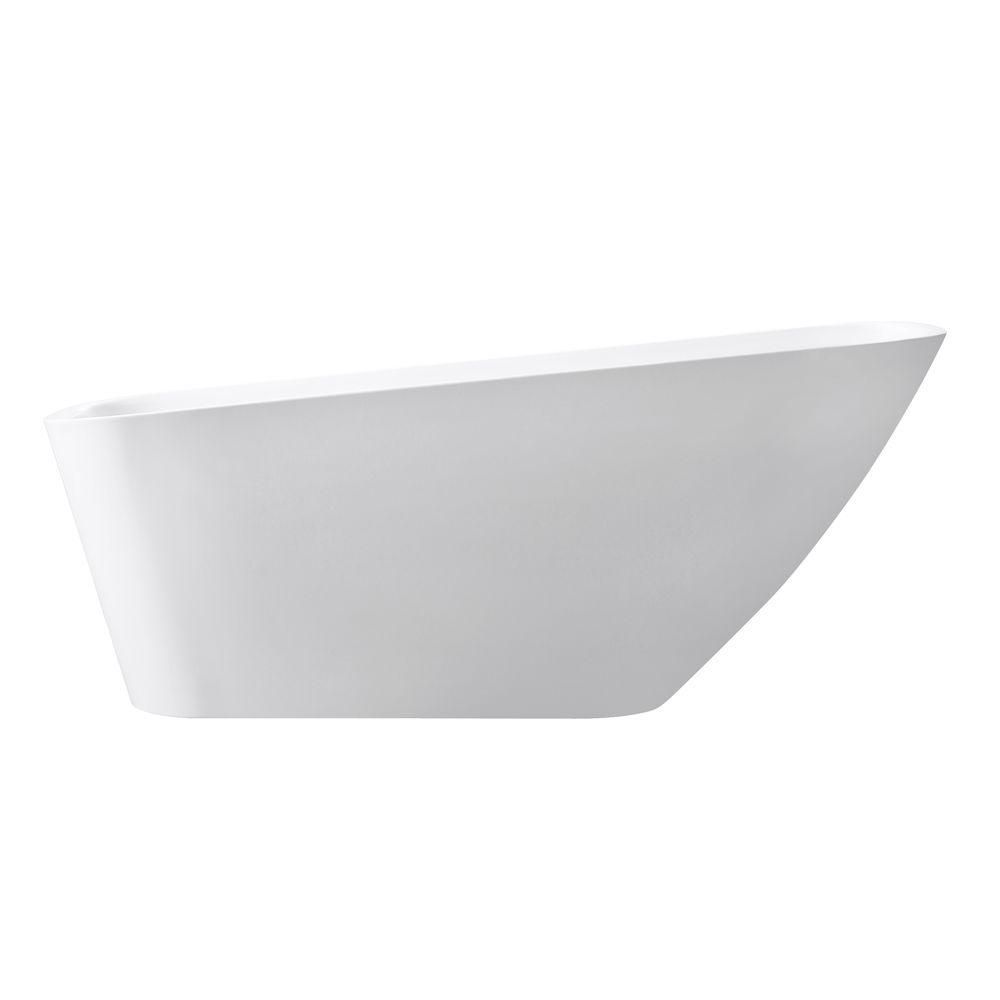 Avanity Rain 66.7 Inch Free Standing Acrylic Soaking Tub With Rear Drain, Pop-Up Drain Assembly, And Overflow
