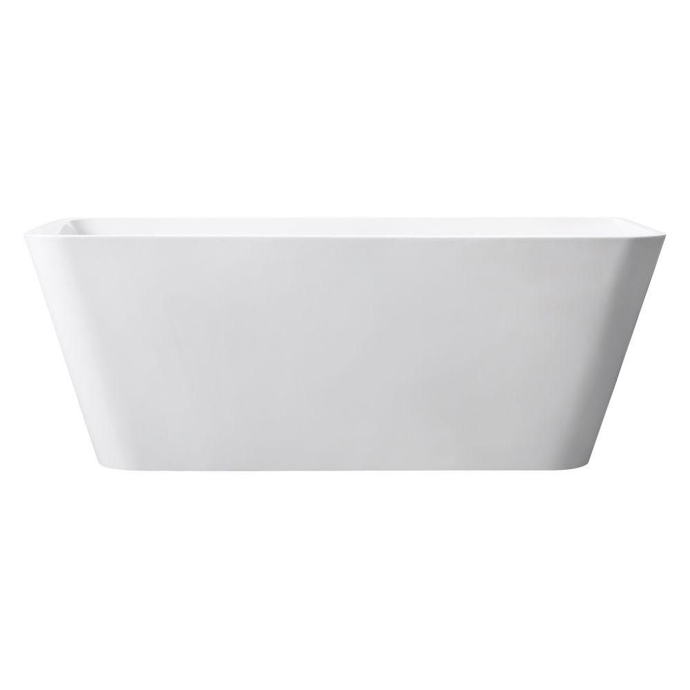 Piron 63 Inch Free Standing Acrylic Soaking Tub With Center Drain, Pop-Up Drain Assembly, And Ove...