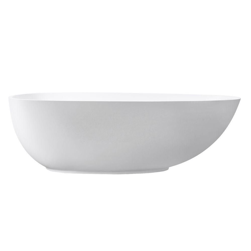 VersaStone Muse 67.5 Inch Free Standing Soaking Tub Center Drain, Pop-Up Drain Assembly, And Over...