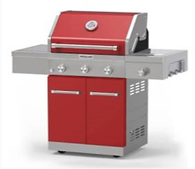 3 Burner Outdoor Gas Bbq With Side Burner In Red