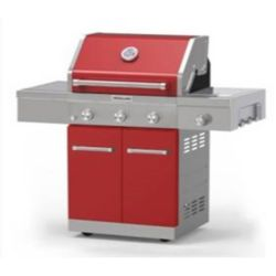 KitchenAid 3-Burner Outdoor Gas BBQ with Side-Burner in Red