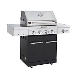 KitchenAid 4-Burner Propane BBQ in Stainless Steel with Ceramic Infrared Sear-Burner